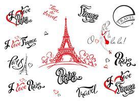 Paris. Frankrike. Sats med element för design. Eiffeltornet skiss. Inspirerande bokstäver. Etikettmallar. Tjejmodell. Vektor.