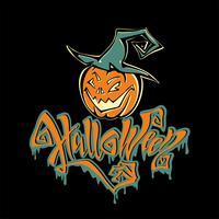 Halloween. Text. Rolig tecknad pumpa monster i en häxa hatt. Ett roligt kort för alla helgons dag. På svart bakgrund. Vektor