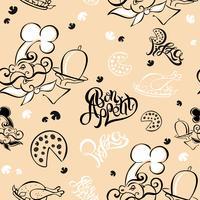 Nahtloses Muster. Koch. Küchenthema. Logo. Koch. Guten Appetit. Pizza. Stylischer Schriftzug. Vektor-Illustration.