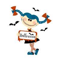 Halloween-Monsterpuppe. Die Augen sind Knöpfe. Inschrift. Einladungskarte Urlaub. Flacher Stil. Vektor.