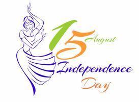 Indien självständighetsdag. Gratulationskort. Skiss av en dansande indisk tjej. Vektor illustration.