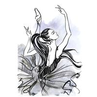 Ballerina. Balett. Dansande tjej på Pointe skor. Vattenfärg. Vektor