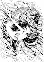Meerjungfrau. Die Geschichte ist ein Mythos. Unterwasserwelt. Fische. Grafik. Vektor.