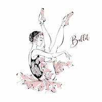 Unga ballerina. Dansare. Balett. Grafik. Vektor illustration.