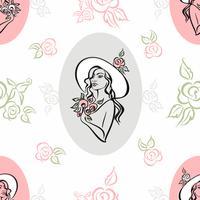 Sömlöst mönster. Porträtt av en tjej i en hatt. Årgång. Bouquet of roses. Vektor.