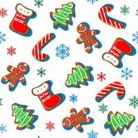 Gingerbreadkakor med snöflingor. Jultryck. Sömlöst mönster. Vit. Vektor
