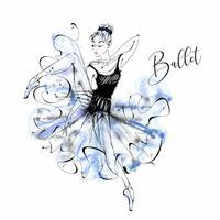 Ballerina. Balett. Wilis. Dansande tjej på Pointe skor. Vattenfärg. Vektor