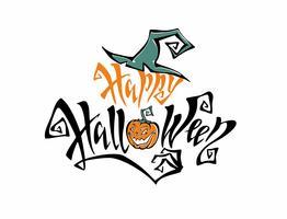 Halloween. Text. En inspirerande magisk inskription med en häxa hatt. Rolig tecknad pumpa monster. Ett roligt kort för alla helgons dag. På vit bakgrund. Vektor.