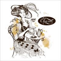 Tjejen med hatten och tappningklänningen. Lady dricker te. Vacker kvinna. Charm. Inskrift. Grafik. Vattenfärg. Vektor