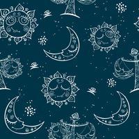 Sun Moon Libra. Barnens roliga sömlösa mönster. Vektor