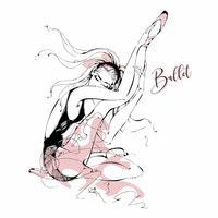 Ballerina. Tänzer. Ballett. Grafik. Mädchen. Vektor-illustration