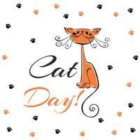 Internationella dagen för katter. Holiday kort. Röd katttecknad. Rolig glad kattunge. Kattens fotavtryck. Vektor illustration.