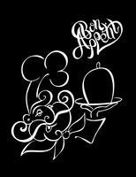 Koch. Logo. Koch. Guten Appetit. Stylischer Schriftzug. Schwarzer Hintergrund. Die Wirkung der Kreidetafel. Vektor-Illustration.