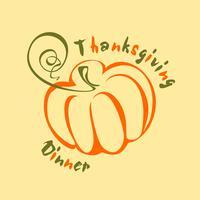 Thanksgiving middag . En fest på hösten. Skördefest. Lammas. Vektor illustration. Text. Logotyp.
