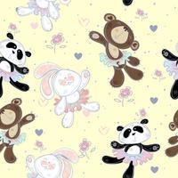 Nahtloses Muster mit niedlichen kleinen Tieren. Der Hase der Bär und Panda. Ballerinas, Vektor