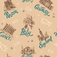 Sömlöst mönster. Länder och städer. Text. Skisser. Landmärken. Resa. Ryssland, Grekland, Turkiet, Italien, Tyskland. Vektor.