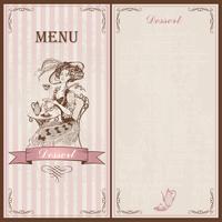Dessertmeny. För kaféer och restauranger. Vintagestil. En tjej i en gammal klänning och hatt som dricker te. Skiss. Vektor illustration.