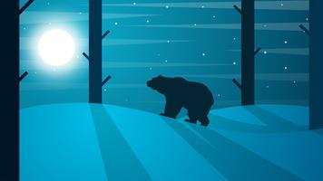 Tecknad björn illustration. Vinterlandskap. Träd, sol, groda.