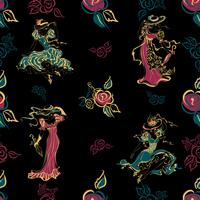 Nahtloses Muster. Vintage Mädchen. Schöne Damen in Vintage-Outfits und Hüten. Rosenstrauß. Blumen. Vintage-Stil. Design für Stoff und Geschenkpapier. .türkis, gold, schwarz.