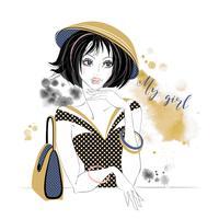 Elegant tjej i en hatt. Min tjej. Inskrift. Akvarell fläckar. Vektor. vektor