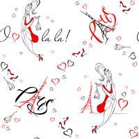 Nahtloses Muster. Mädchen in Paris. Romantischer Druck. Mädchenmodell auf dem Hintergrund des Eiffelturms. O La La. Schriftzug. Herzen. Vektor.