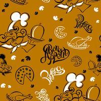 Sömlöst mönster. Kock. Köks tema. Logotyp. Kock. Smaklig måltid. Pizza. Snygg bokstäver. vektor illustration.