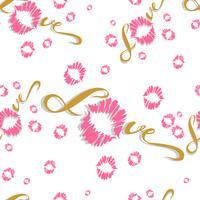 Sömlöst mönster. Romantiskt tryck för tyg. Kärlek. Text. Kyss. Läpputskrift. Valentine. Rosa. På vit bakgrund. Vektor.