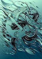 Sjöjungfru. Sagan är en myt. Undervattens värld. Fiskarna. Grafik. Vektor.