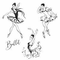 Ballerina. Dansare. Balett. Carmen. Grafik. Vektor illustration