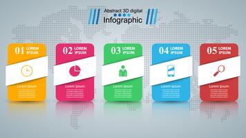 Papiergeschäft Infografik. Fünf Gegenstände.