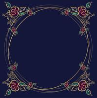 Der Rahmen ist rund. Rosen. Gold. Vektor-illustration vektor
