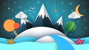 Cartoog pappersö. Stjärna, berg, moln, måne, hav, stjärna, träd.