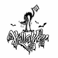 Halloween. Fröhliche Postkarte Färbung für das Fest Allerheiligen. Magische Schrift mit bedrohlichen Tropfen. Lustiges Monster der schwarzen Katze der Karikatur. Fledermaus. Vektor.