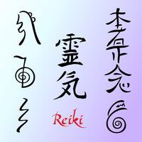 Reiki Energi. Symboler. Alternativ medicin. Vektor.