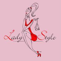 Vacker ung modeflicka. Snygg kvinna i trendiga kläder. Lady-stil. Flickan med väskan. Vektor illustration.