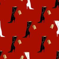 Damenstiefel. Nahtloses Muster. Roter Hintergrund. Vektorabbildung.