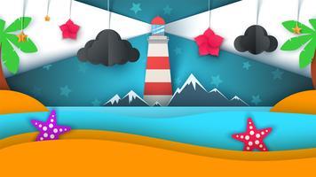 Tecknadpapper ö. Strand, palm, stjärna, moln, berg, måne, hav.