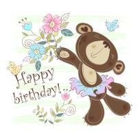Födelsedagskort med en björn. Vektor illustration.