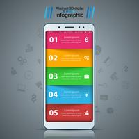 Business infographic. Smartphone, digital gadget ikon.