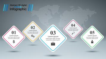 Geschäft Infografik. Fünf Papierartikel. vektor