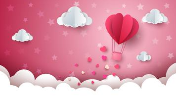 Hjärta, moln, luftballong illustration.