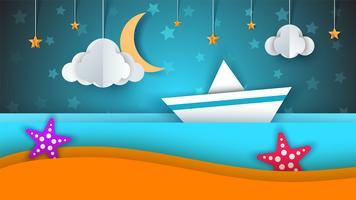 Ship, papper landskap, hav, moln, stjärntecknad illustration.