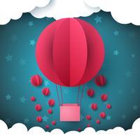 Röd cirkel, luftballong. Sky paper illustration.