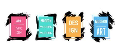 Vektorsatz Farbrahmen mit schwarzen Bürstenanschlägen für Text, Grafiken der modernen Kunst