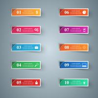 Infografisk design. Lista över 10 artiklar.