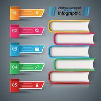 Bok, läs, utbildning - skol infographic. vektor