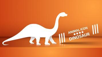 Papierdino, Dinosaurierillustration auf dem orange Studio. vektor