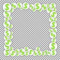 Vektorram med pappersklistermärken med dollartecken
