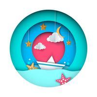 Papper origami illustration. Fartyg, moln, stjärna, mån.