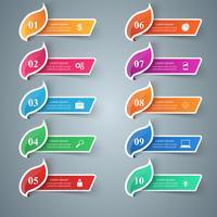 Papiergeschäft Infografik. Blatt-Symbol. zehn Gegenstände.